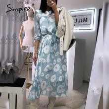 Simplee – robe midi à ceinture pour femmes, tenue de bureau, taille haute, élégante, à fleurs, imprimée, de couleur bleue, collection 2020