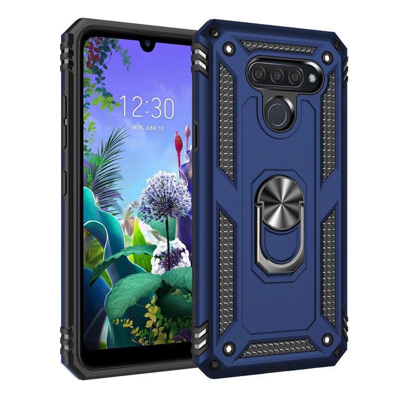 Luxury Armor Shockproof Phone Cases For LG Q60 K50S K50 K40 K30 2019 Stylo5 Aristo4 K12 Plus Cover Car Magnetic Ring Bumper Case