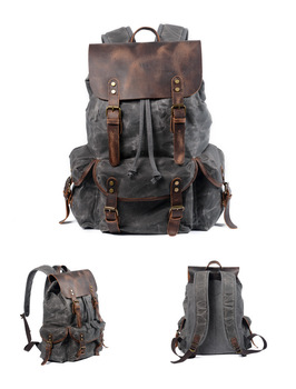 Free Shipping,Leisure student backpack,oil wax leather canvas schoolbag.travel bag,laptop backpack.vintage trend bag.