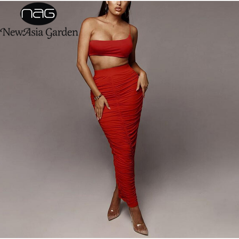 NewAsia Summer Two Piece Set Sexy One Shoulder Crop Top Ruched Long Maxi Skirts 2 Piece Set Women Outfits Two Piece Skirt Set