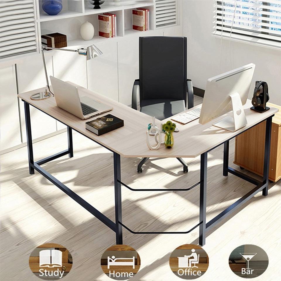 - Home Office Corner Desk Computer Table Steel Wood Study Office
