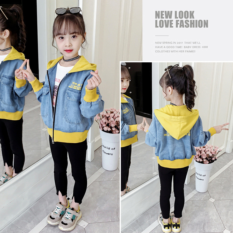 Hoooded Denim Jacket for Girls Coats Children Clothing Autumn Baby Girls Clothes Outerwear Jean Jackets Coats for Child Girls in Jackets Coats from Mother Kids