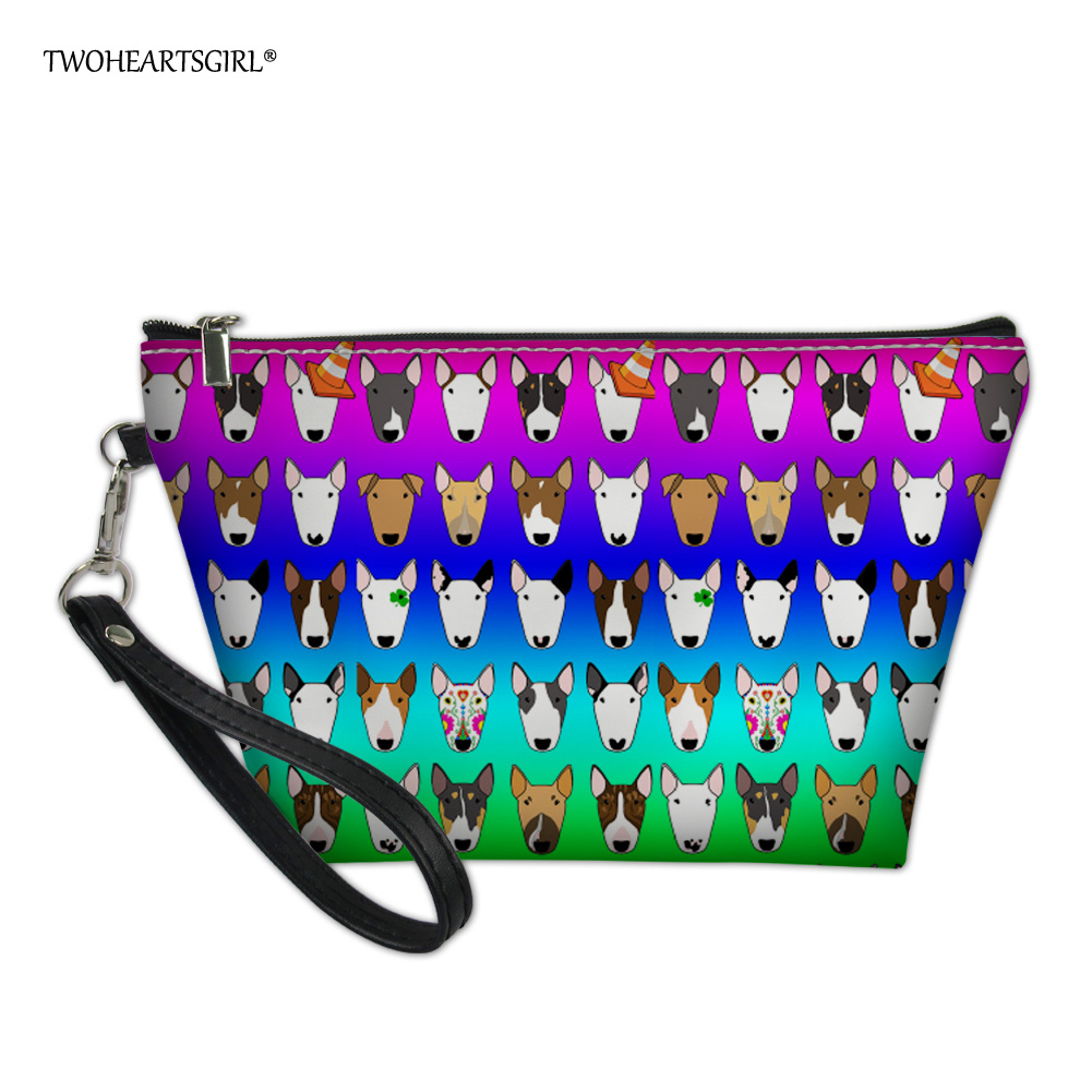 Twoheartsgirl Rainbow Color Bull Terrier Print Make Up Bag Small Leather Cosmetic Bag For Makeup Zipper Travel Toiletry Wash Bag