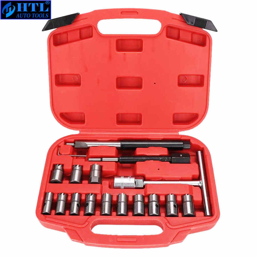 Injector Remover 17Pcs Diesel Injector Seat & Cleaner Carbon Remover Seat Gereedschap Cutter Frees Set Universele Auto Tool kit