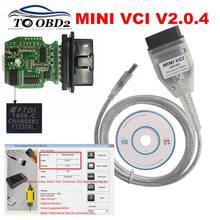 Mais novo v15.00.028 ft232rl real v2.0.4 firmware mini vci j2535 suporte vpw protocolo MINI-VCI v2.0.4 estável para toyota techstream