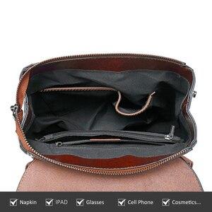 Image 5 - Yonder kobiety plecak szkolne torby dla nastolatków dziewczyny prawdziwy skórzany plecak szkolny dla kobiet o dużej pojemności mochila brown 2019