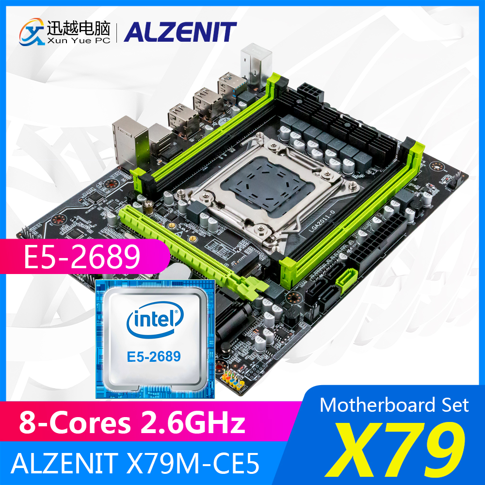 ALZENIT X79 Motherboard Set X79M-CE5 M.2 MATX With Intel Xeon E5-2689 8-Cores 2.6GHz CPU Support ECC/REG 128GB RAM