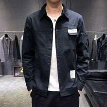 Harajuku Men Long Sleeve Shirt Multi-Pocket Solid Color Mens Shirts Autumn Men Long Sleeve Shirt цены