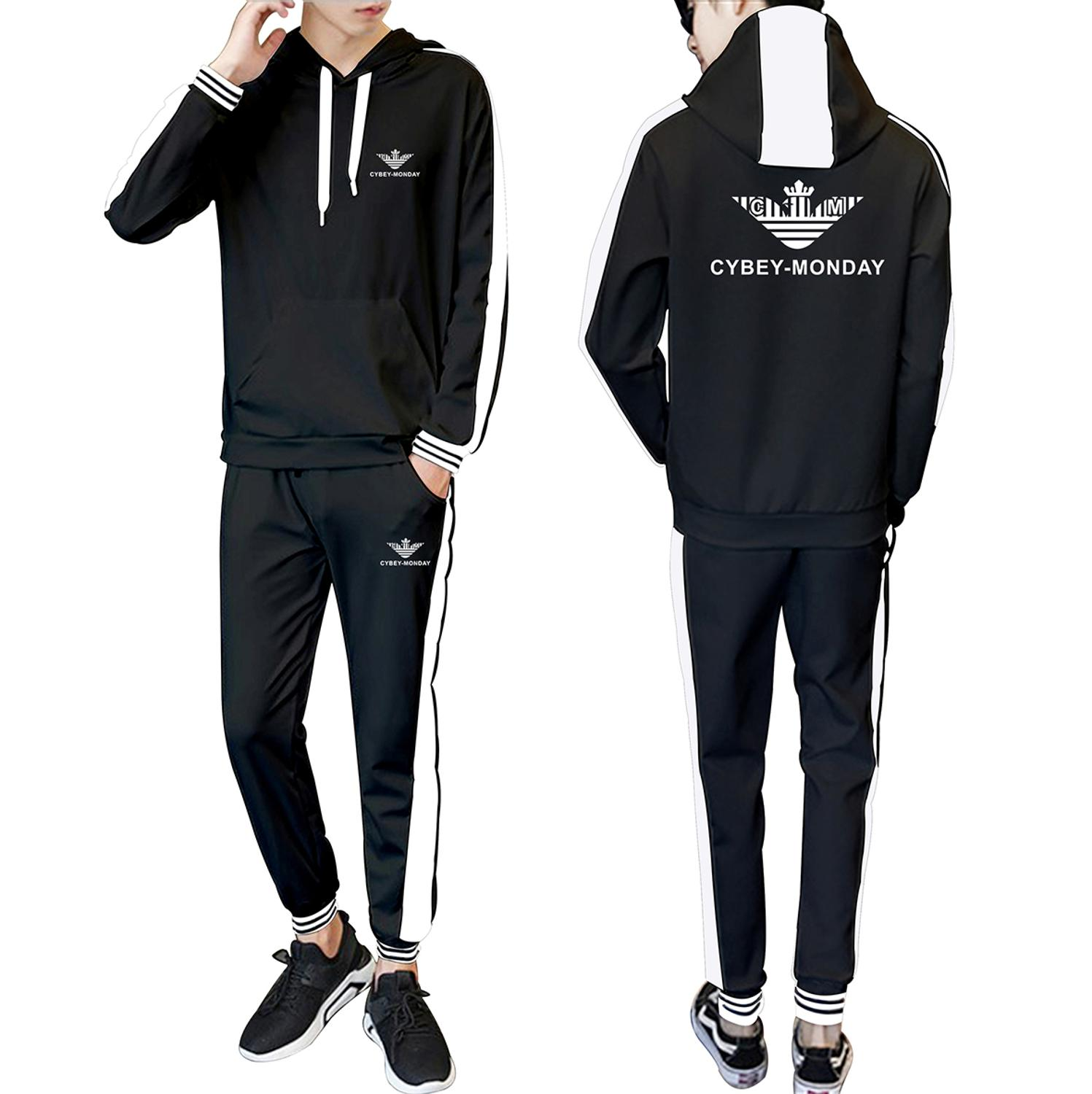Sports New Logo 2020 Spring and Autumn New Hooded Stitching Fashion Casual Suit Fashion Men's and Women's Sports Casual Suit 1