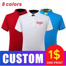 Polo Shirt Custom Logo Embroidery Short-Sleeved Mens Breathable Tops Own Logo Printed Design Brand Text