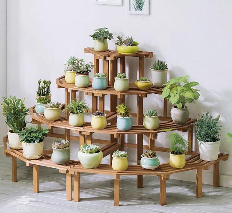 Solid Wood Corner Flower Stand подставка для цветов Multi-layer Ladder Type Floor Plant Stand Balcony Wooden Flower Pot Shelf