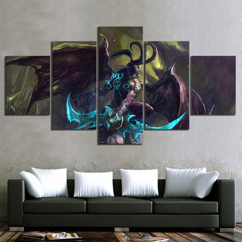 Modular Canvas Prints Pictures Wall Art 5 Panel Illidan Stormrage World Of Warcraft Video Game Painting Home Decor Posters Frame image