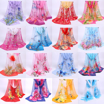 160*50cm Multi-style Holiday Gift Selling Chiffon Striped Scarf Wild Fashion Shawl Sunscreen Print Floral Scarf Scarves