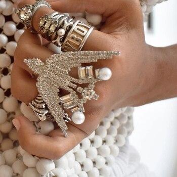 Anillos de águila de cristal Vedawas Chare para mujer, anillos de diseño único Vintage cz, accesorio de joyería de diamantes de imitación de perlas simuladas