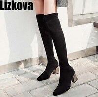 2019 Autumn Winter Women Black Knit Long Boots High Heel Knitting Sock Boots