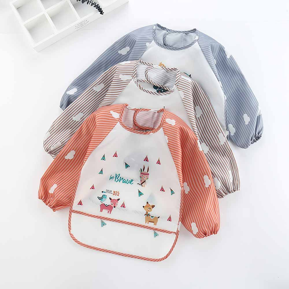 New Cartoon Baby Kids Toddler Long Short Sleeve Waterproof Art Smock Feeding Bib Apron Pocket Baby Spring Summer Bibs Clothing
