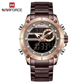NAVIFORCE Men Military Sport Wrist Watch Gold Quartz Steel Waterproof Dual Display Male Clock Watches Relogio Masculino 9163 10