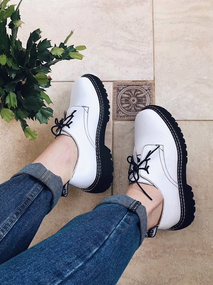Women Shoes Spring British-Style Wild-Thick Large-Size Ladies Retro Genuine-Leather Student