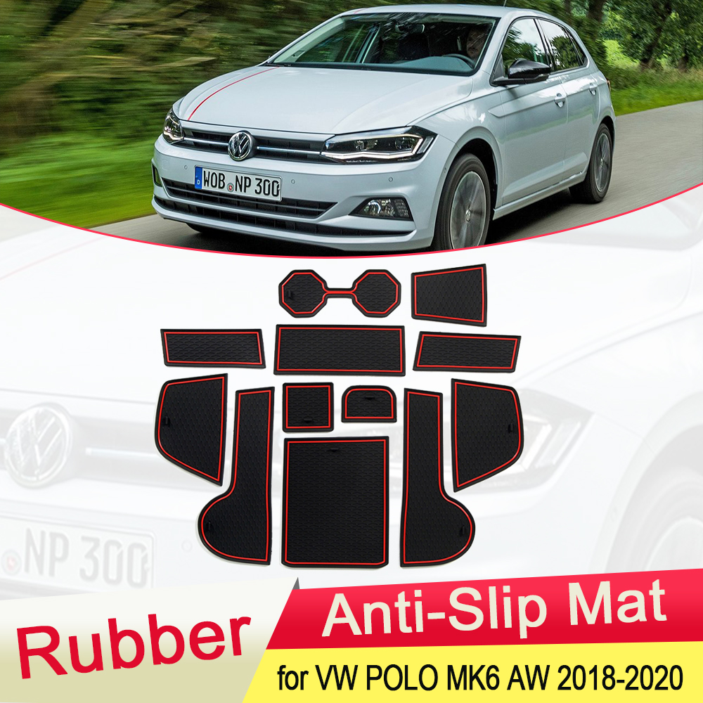 for VW Volkswagen POLO MK6 AW 2018 2019 2020 Rubber Anti-slip Mat Door Groove Cup pad phone Cushion Gate Coaster Car Accessories