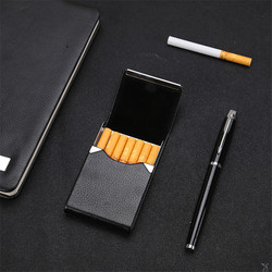 Boîte pour cigarettes, accessoires de tabac, étui pour cigarettes de rangement en acier inoxydable, étui multifonction pour cartes, porte-tabac en PU 1 PC
