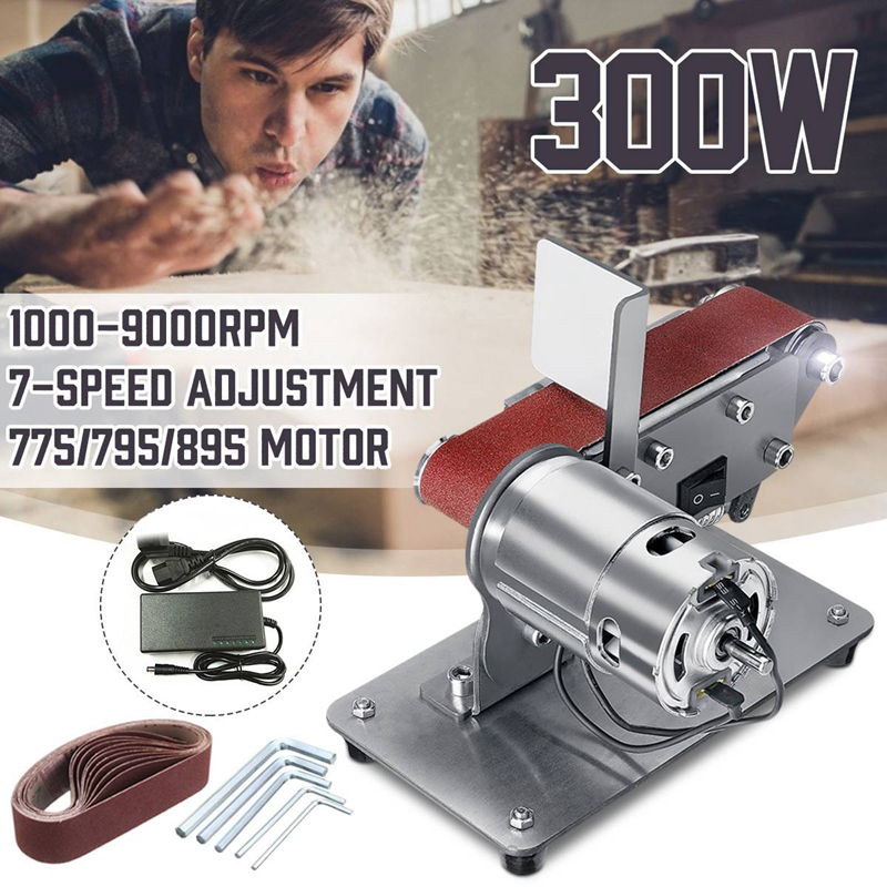 <font><b>Sander</b></font> Belt Machine 300W Electric Belt <font><b>Sander</b></font> Polishing Grinder Machine 90 Degree Folding <font><b>Sander</b></font> Grinding <font><b>Tool</b></font> Cutter Edges Shar image