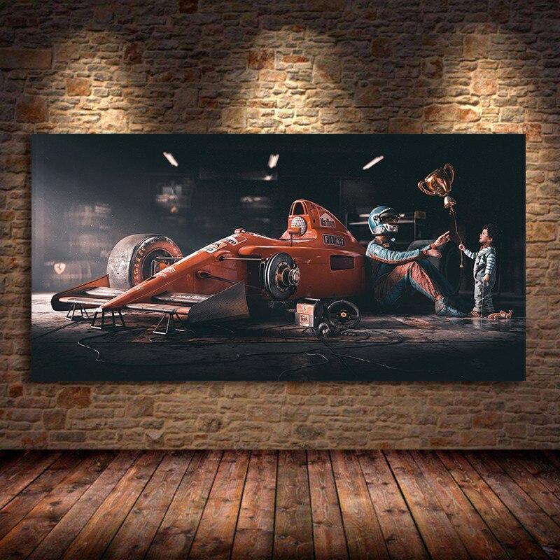 F1 formülü Legend şampiyonu yarış arabası posteri duvar sanatı yağlı tuval baskılar Vintage boyama oturma odası için Modern ev odası dekor