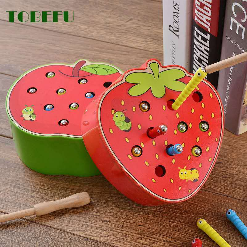 TOBEFU Catch Worm Game Color Cognitive Magnetic Strawberry Apple Baby Wooden Toys 3D Puzzle Early Childhood Educational Toys