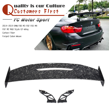 Car Accessories Forged Cabon Weave Carbon Fiber GT-Wing Spoiler MAD Style Fit For 2014-2019 F80 M3 F82 F83 M4 F87 M2 GT-Wing