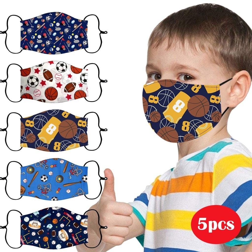 5 crianças máscara facial lavável criança máscaras de boca reutilizáveis meninos capa de basquete masker mascarillas filtros pm25 mondkapjes mascherine| |   -