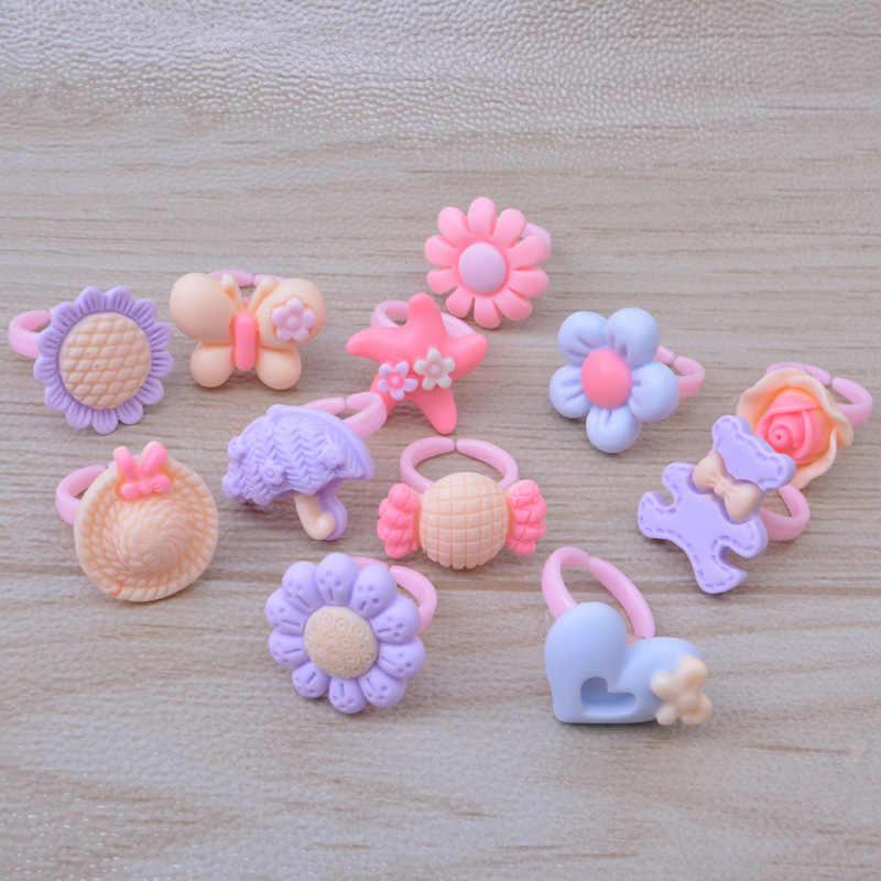 1 قطعة الصيف نمط الاطفال الأطفال لطيف الحلوى الملونة الكرتون الراتنج خواتم لفتاة موضة مجوهرات حفلة هدية مجوهرات بالجملة