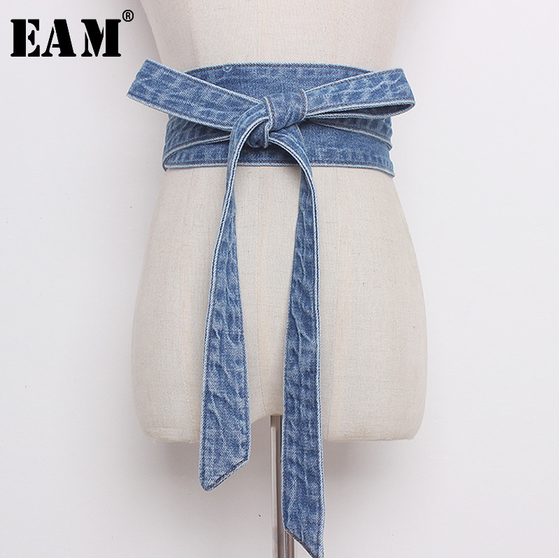 [EAM] 2020 Spring Autumn New Fashion Cowboy Bow Knot Waistband Asymmetrical Patchwork High Quality Long 255cm Women Belt AA217