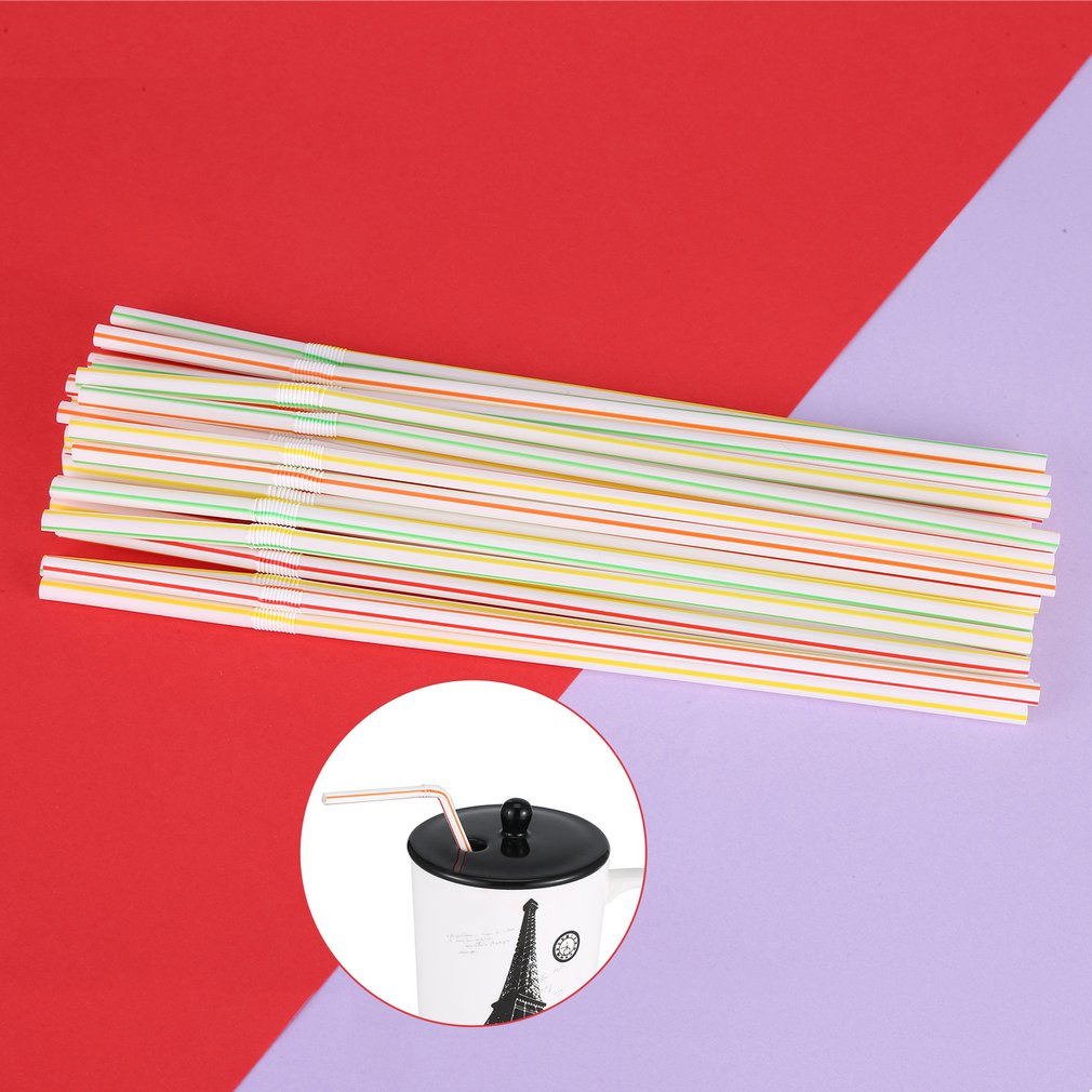 100 Pcs Flexible Plastic Solid White Disposable Drinking Straws..