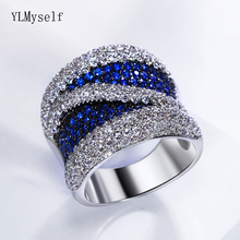New Luxury Blue Cubic Zirconia Finger Ring For Women Top Jewelry Gorgeous Color Crystal Fashion Large Rings Jewellery luxury large pink opal finger rings rose gold color fashion brand cubic zirconia punk jewellery jewelry for women dfr086