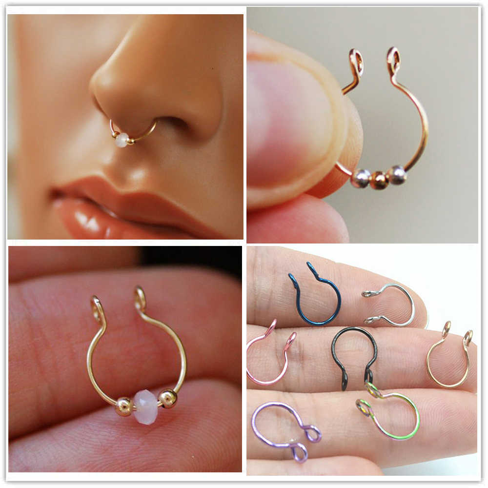 TIANCIFBYJS 2pcs U Shaped Fake Nose Ring Hoop Septum Rings Stainless Steel Nose Piercing Fake Piercing Oreja Pircing Jewelry