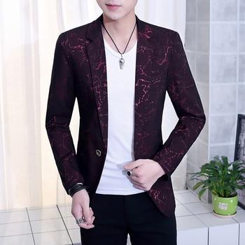 Blazer Men 2020 New Mens Fashion Casual Printed Irregular Lines Slim Single Button
