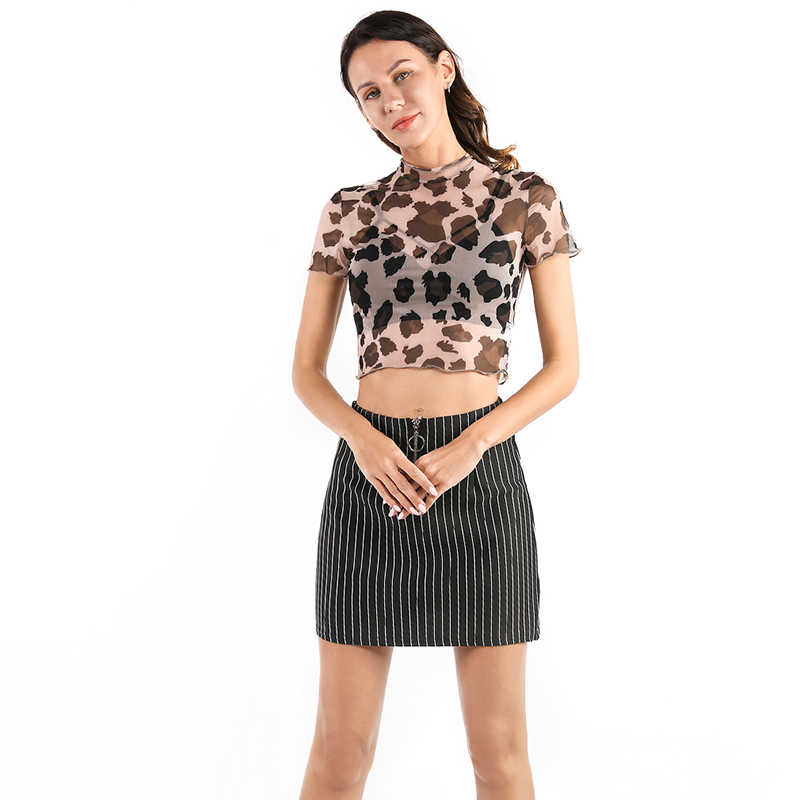 קיץ סקסי לראות דרך יבול למעלה אופנה הדפס מנומר חולצות נשים סקסי Mesh חולצה שקוף יבול למעלה