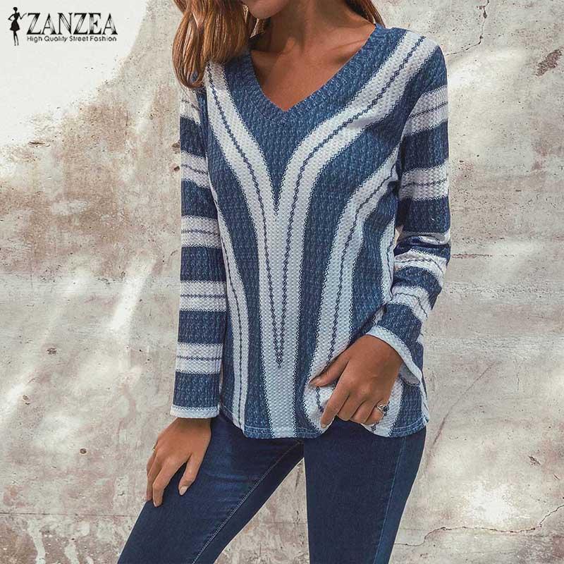 2019 Plus Size ZANZEA Winter Sweater Autumn Women Casual Sexy V Neck Long Sleeve Striped Knitted Pullover Jumper Femme Knitwear