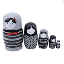 5 Teile/satz Schöne Matryoshka Holz Puppen Nesting Babuschka Russische Hand Malen Für Kinder Weihnachten Spielzeug Geschenke Puppen Für Kinder