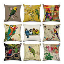 1Pc Parrot pattern pillow covers  Square Throw Pillow Covers Set Cushion Case for Sofa Bedroom Car 18 x 18 Inch 45 x 45 цены