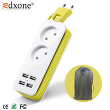 Rdxone EU enchufe regleta de viaje Portable extensión toma de corriente con 4 USB cargador de pared inteligente enchufe de escritorio(China)
