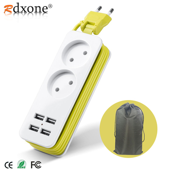 Rdxone EU plug Travel Power Strip Portable Extension Socket Outlet with 4 USB Wall Charger Smart Desktop Socket
