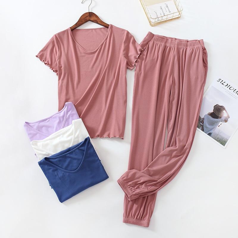 Mais tamanho preto cinza rosa pijamas para mulheres modal algodão conjunto moda babados fino verão senhoras pijamas pijama femme