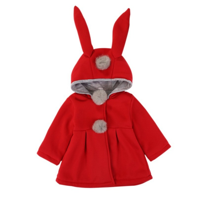 Baby Girls Coat Winter Spring Baby Girls Princess Coat Jacket Rabbit Ear Hoodie Casual Outerwear for girl Infants clothing 5