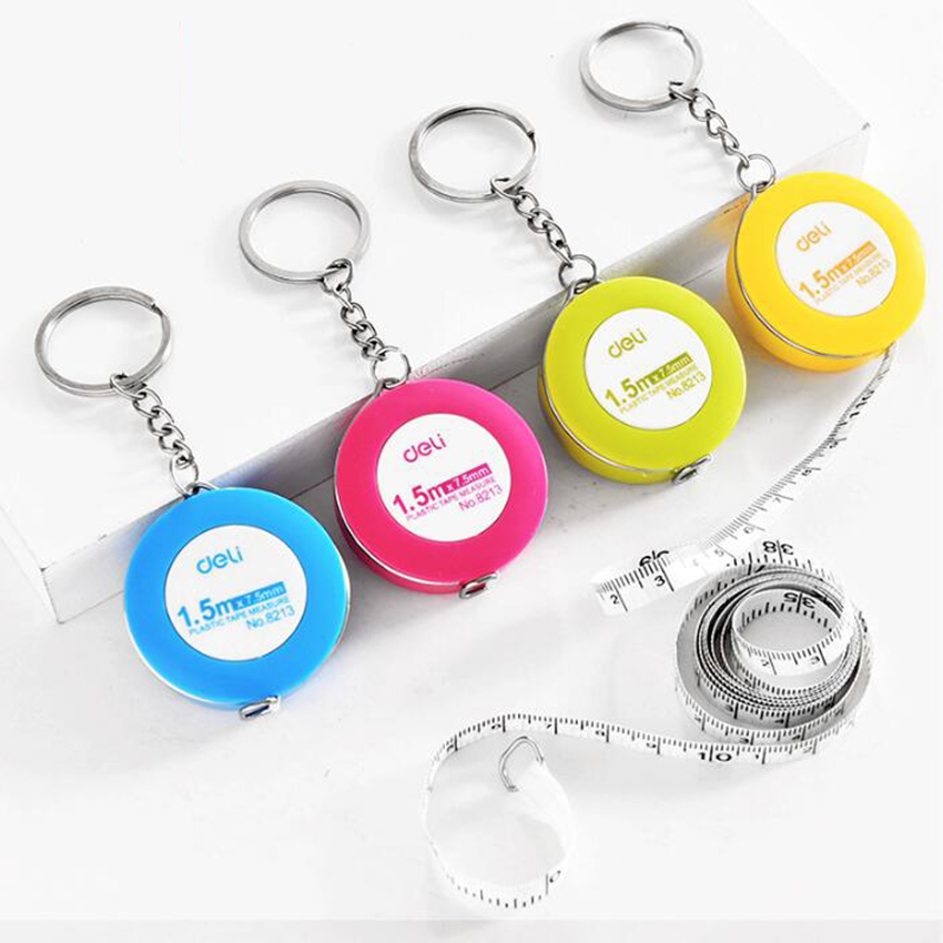 1pc Resultswa Hot Portable Retractable Ruler Centimeter/Inch Plastic Key Chain Tape Measures Tailor Student Ruler 150cm