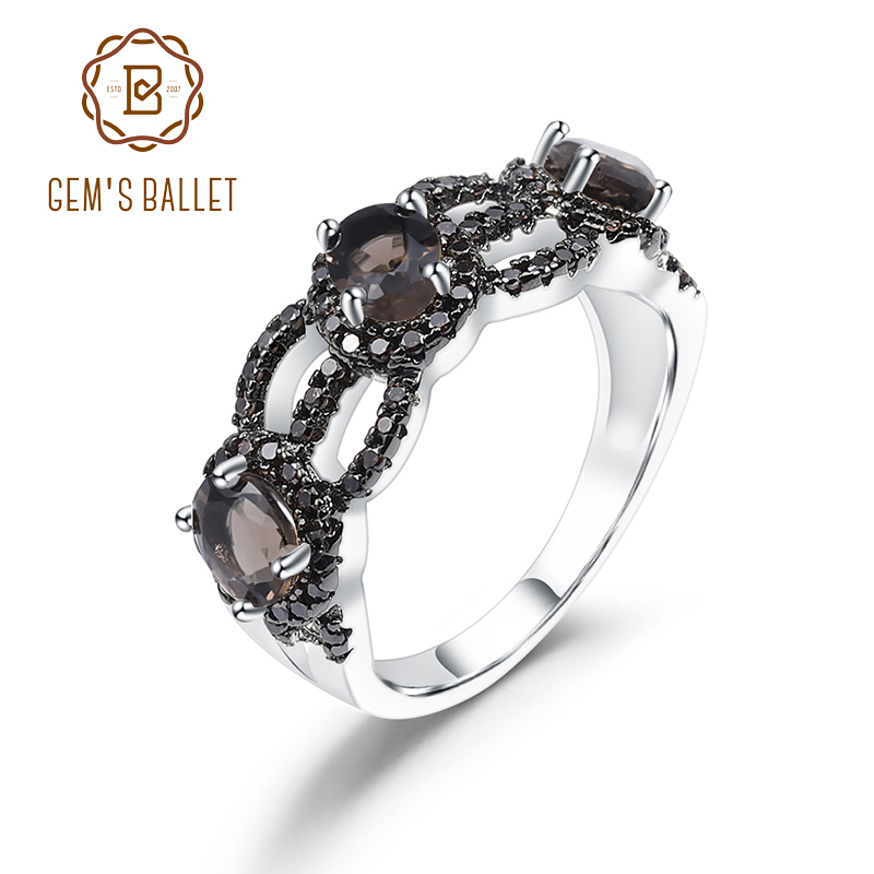GEM'S BALLET 1.26Ct Natural Smoky Quartz Gemstone Ring 925 Sterling Silver Hollow Vintage Rings For Women Party Fine Jewelry
