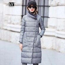 Ly Varey Lin Chaqueta de plumón de pato para mujer, abrigo largo de invierno grueso a cuadros de doble cara, abrigo de talla grande cálido con doble botonadura, Parka de plumón de nieve