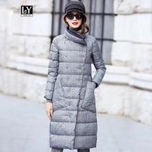 Ly varey lin casaco pluma de pato, feminino, para inverno, grosso, dupla face, xadrez, tamanho grande, quente, duplo, neve parka para baixo