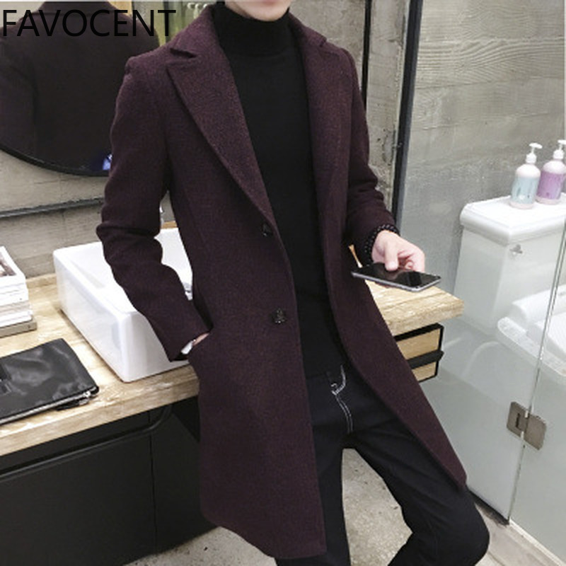 Men Coats Casual Long Top Mens Thick Wool Trench Fashion Warm Coat Lapel Spring Autumn Overcoat Plus Size 5XL Long Coat