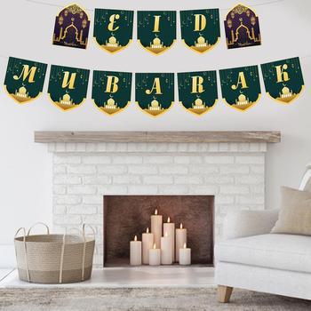 1 sztuk eid mubarak Banner trznadel Ramadan artykuły do dekoracji imprez wysokiej jakości biały karton do dekoracji wnętrz tanie i dobre opinie Banery Party