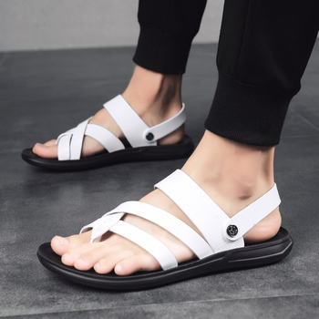 Summer Soft Leather Sandals Men Fashion Flip Flops Quality Gladiator Beach Sandals Slippers Zapatillas Hombre Men Casual Shoes summer men shoes black men half slippers high quality men leather casual shoes loafers flip flops lightweight flats sandals